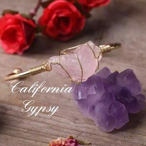 Raw Rose Quartz Boho Bracelet